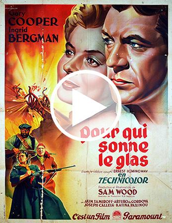 Affiche du film Pour qui sonne le glas avec Ingrid Bergman et Gary Cooper dessinés