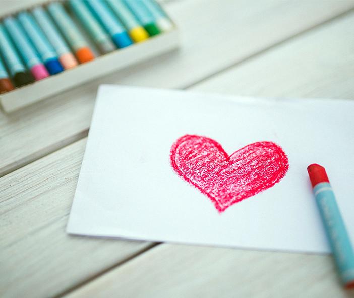 Coeur dessiné avec des pastels