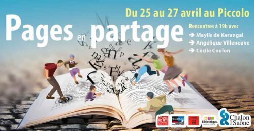 Affiche de Pages en partage : Des figurines et des lettres sortent d'un livre ouvert