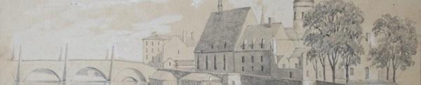 Détail d'un dessin de la Saône à Chalon/Saône