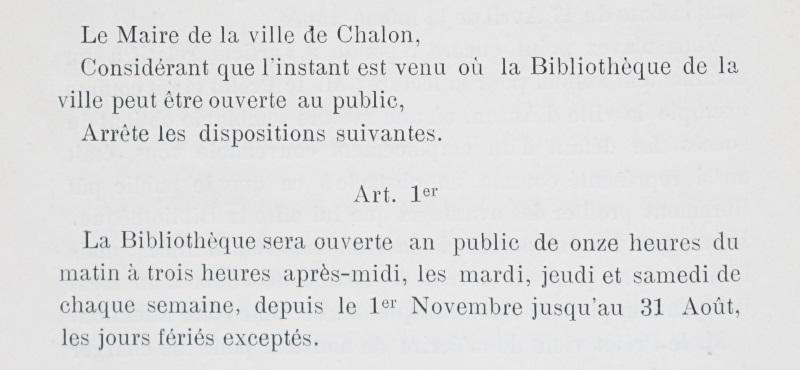 Extrait du 1er article du règlement de la bibliothèque ouverte en 1824.