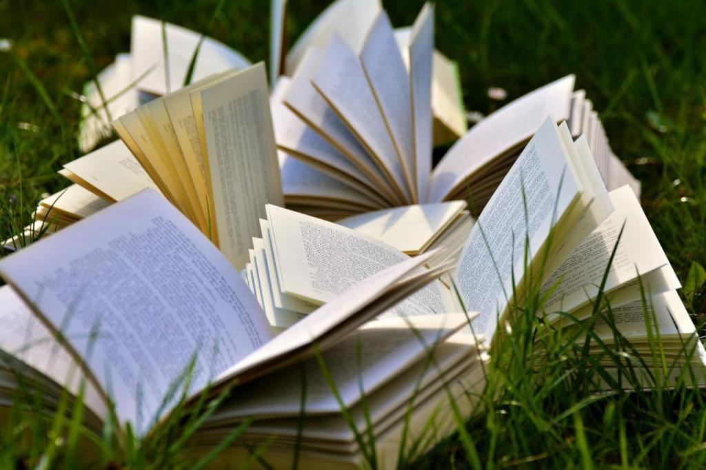 livres ouverts sur l'herbe